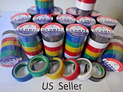 """12 Rolls 30 FT General 0.7"""" Inch Vinyl PVC COLOR Insulated Electrical Tape USA"""