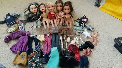 bundle of bratz dolls, clothes, accessories