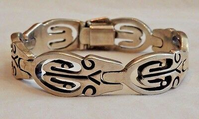 Vintage Mexico Sterling Silver Carved Design Bracelet