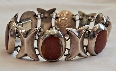 Modernist Taxco Mexico Sterling Silver and Red-Orange Stone Bracelet