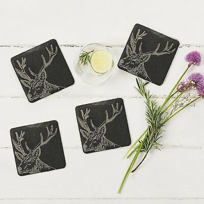 The Just Slate Company - Set of 4 Stag Engraved Natural Slate Coasters