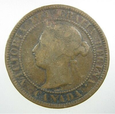 CANADA 1 CENT 1888 COPPER SHARP #i QUEEN VICTORIA CANADIAN LARGE ¢ WORLD COIN