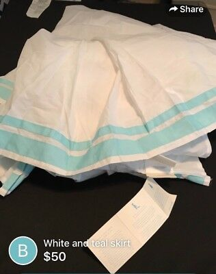 Pottery Barn Kids Aqua Harper Bed Skirt+Changing Pad Cover