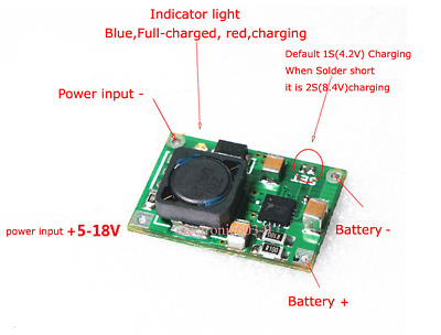 1S 2S 2A 3.7V 7.4V Lithium Li-ion 18650 Battery Charging Board Charger Module
