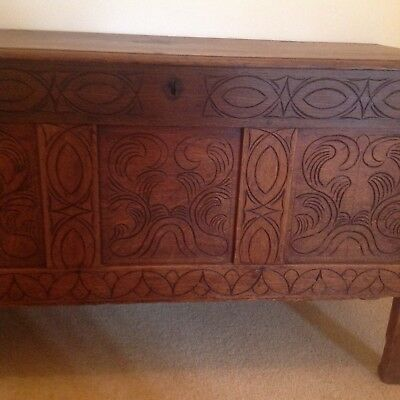 antique oak coffer early 18th century.
