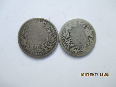 Victorian Sterling Silver Shillings 1842,1844
