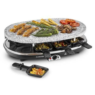 Tabletop 1500W Raclette Grill Meat Vegetable Large Natural Stone Plate 8 Persons