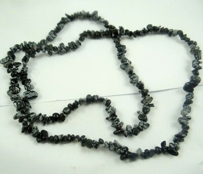 Natural Snowflake obsidian Chip Shape 5-10mm DIY Jewelry Making Necklace 17''