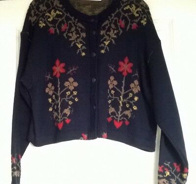 1980's St Michael Navy Cardigan- swiss style pattern- Cropped