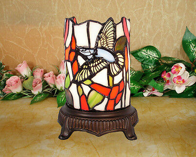 Limited* Tiffany Stained Glass Leadlight Hummingbird Candle Style Leadlight Lamp