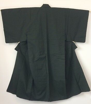 Authentic Japanese green wool kimono for men, M, Japan import (J1758)
