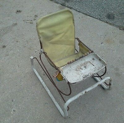 Vintage Antique Metal Baby Infant Child Bouncy Seat Chair Toy Tray