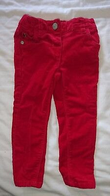 Girls red cord trousers 12-18 months