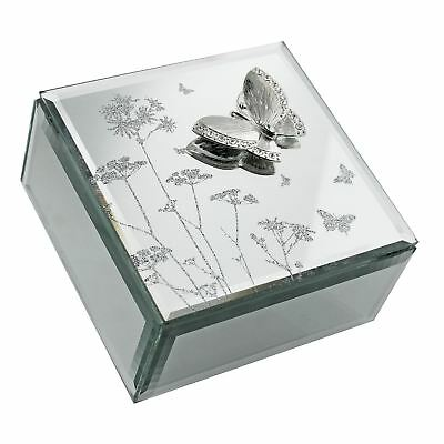 Hestia Butterfly and Flowers Glass Jewellery Trinket Box