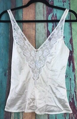 Vtg Chantilly MAIDENFORM Camisole Slip Off White Cream Lace Floral Lingerie USA