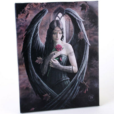 """Anne Stokes  """"Angel Rose"""" Fantasy Canvas Wall plaque 26x19cms Approx."""