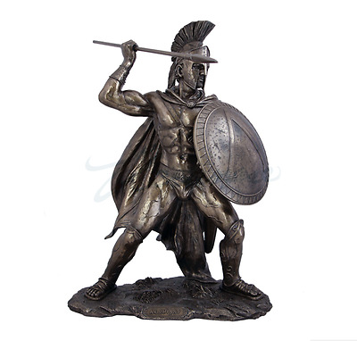 Leonidas King of Sparta W/Spear & Shield Statue Sculpture Figurine - Gift Boxed
