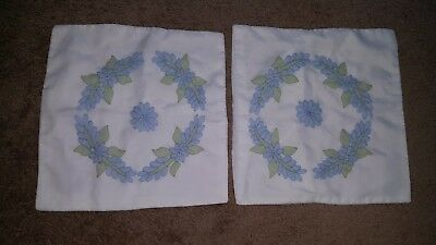 Vintage Hand Embroidered Set of 2 Standard Pillowcases