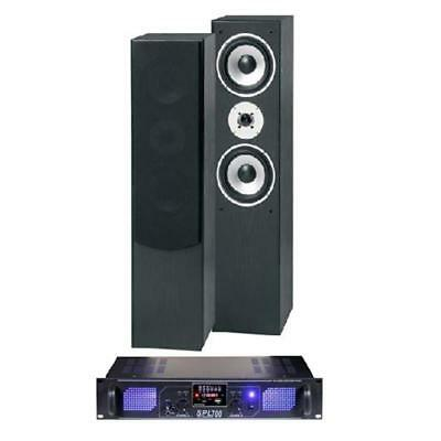 Skytronic Shft60B Hifi Tower Speakers + Skytec Spl700 Mp3 Stereo Amp Receiver