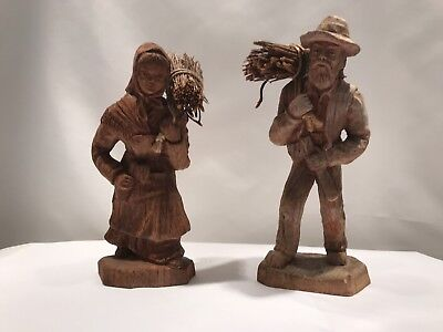 Antique Wood Carved Figures , hand carved