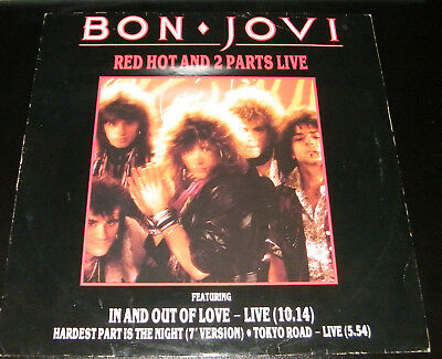 BON JOVI Red Hot And 2 Parts Live Rare UK limited edition 3-track Red VINYL 12""
