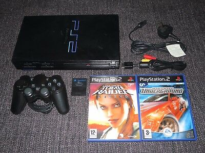 Sony Playstation 2 Ps2 Console Bundle With Controller Mem Card & 2 Games