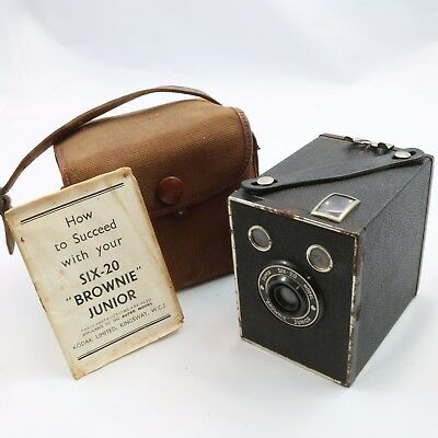Vintage Kodak Brownie Super Six-20 Box Camera with Instructions and Bag