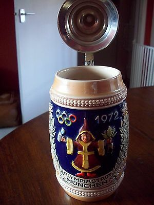German Olympic 1972 Beer Stein, Olympiastadt Munchen By Gerz