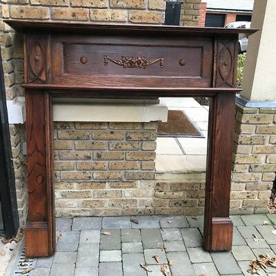 Antique Victorian  mahogany geometric detailed hard wood fire surround