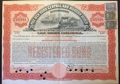 1907 NY & Hudson River $50000 RR Bond w Rare NY Secured Debt Stamps, Vanderbilts