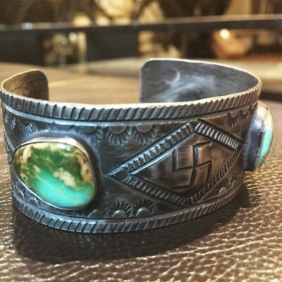 Harvey Style Whirling Log Turquoise and Sterling Silver Bracelet with Repousśe
