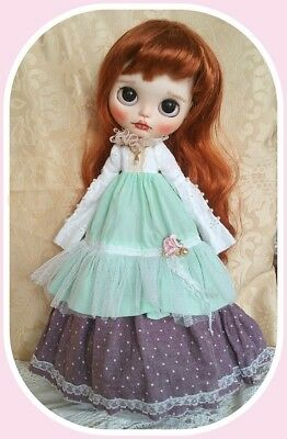 Blythe doll Edwardian extra long dress with extra long sleeves*   ** NO DOLL **