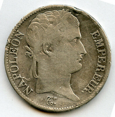 France 1813-W Napoleon I 5 Francs Silver Crown Lille Mint,choice Avf.