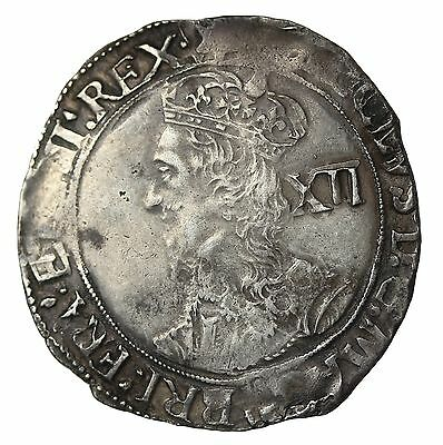 England Charles I 1625-1627 AR Silver Shilling Briots Bust Tower Mint S.2799