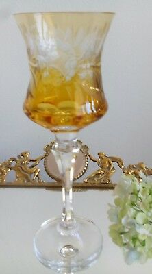 Gold Amber Cut To Clear Wine Glass Vintage Bohemian Antique Heavy Crystal Goblet