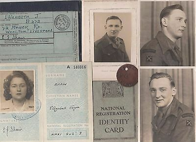 Ww2 Id & Travel Cards X3 With Dog Tag & Photos Shaw Of Liverpool