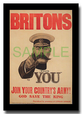 Britons Kitchener Wants You WW1 framed repro poster 1914 Alfred Leete