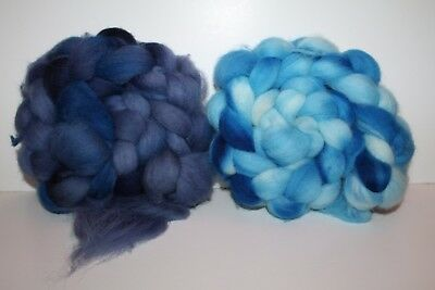 Hand Dyed Cheviot Wool Top. Roving. Spin. Felt. 2 Braids. Weighs 1/2lb. C1