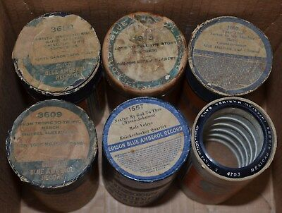 Edison Blue Amberol Records - LOT of 6 Cylinders - 3688 1913 3609 1557 4703 3097
