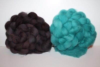 Hand Dyed Cheviot Wool Top. Roving. Spin. Felt. 2 Braids. Weighs 1/2lb. C2