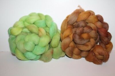 Hand Dyed Cheviot Wool Top. Roving. Spin. Felt. 2 Braids. Weighs 1/2lb. C3