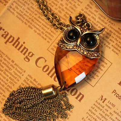 Antique Finish Vintage Owl w/ Amber Faceted Jewel Body & Tassel Necklace
