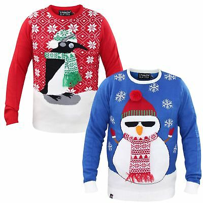 New Loyalty & Faith 3D Novelty Retro Knitted Xmas Christmas Jumper Sweater Top