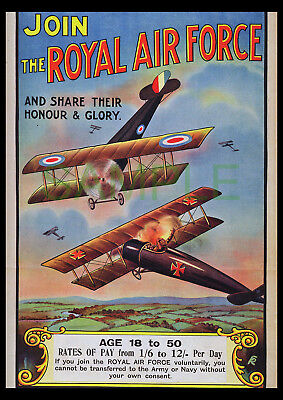 Join the RAF Honour & Glory WW1 poster repro biplanes dog fight