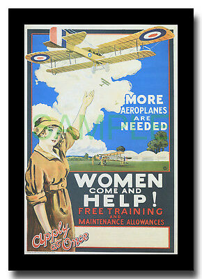 More Aeroplanes are Needed WW1 RAFC Biplane framed poster reproduction