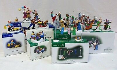 Dept 56 Village Accessories and People Lot of 9