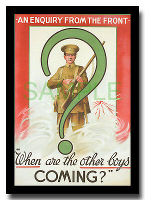 When are the Other Boys Coming? WW1 framed repro Irish recruitment poster 1915