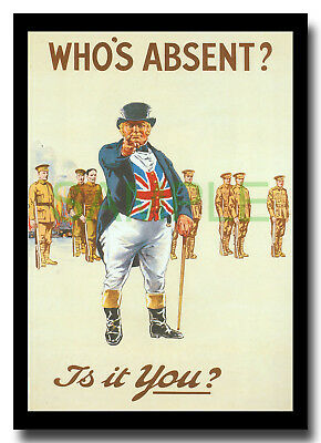 Who's Absent? Is It You? John Bull British Bulldog WW1 framed repro poster 1915