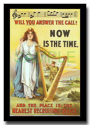 Will You Answer the Call? Erin Harp Ireland Eire WW1 framed repro poster 1915