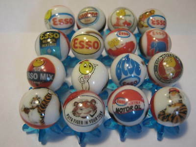 ESSO gasoline oil MARBLES 5/8 SIZE COLLECTION LOT + stands
